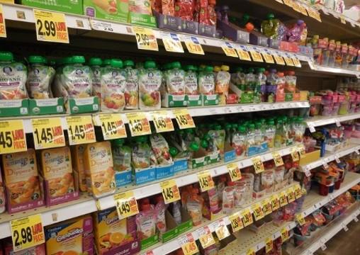 shelf of baby food